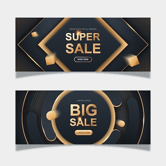 Realistic golden sales banner template