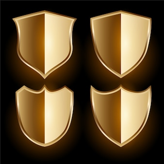 Realistic golden shield badges set