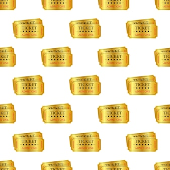 현실적인 황금 쇼 티켓 패턴입니다. 벡터 일러스트 레이 션.