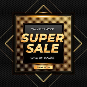 Realistic golden super sale banner