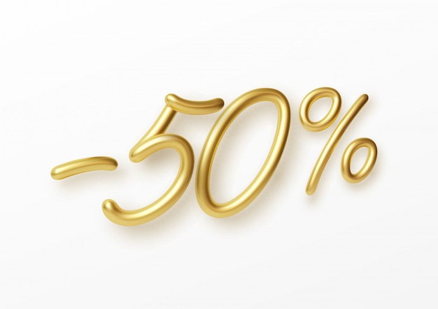 Realistic golden text 50 percent discount number