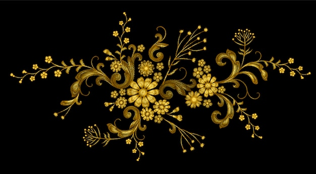 Realistic golden thread vector embroidery fashion patch