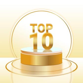 Podio top 10 realistico d'oro