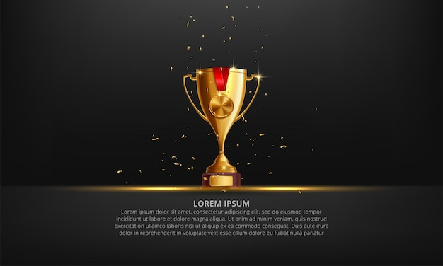 Realistic golden trophy cup on black