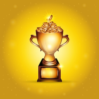 Realistic golden trophy cup full of gold coins