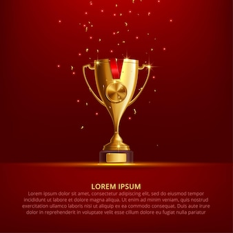 Realistic golden trophy cupon red