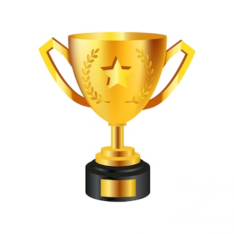 Realistic golden trophy isolated