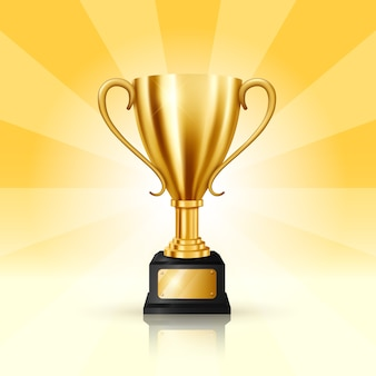 Realistic golden trophy on retro background
