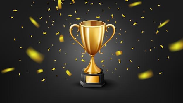 Реалистичный золотой трофей в окружении падающих конфетти, изолированных на темном фоне.
