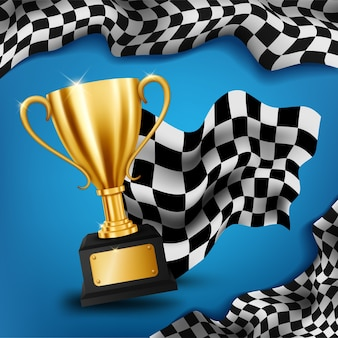 Realistic golden trophy with checkered flag racing championship background