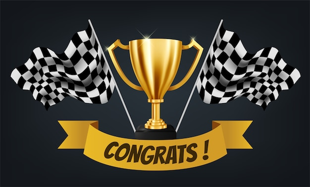 Realistic golden trophy with checkered flag