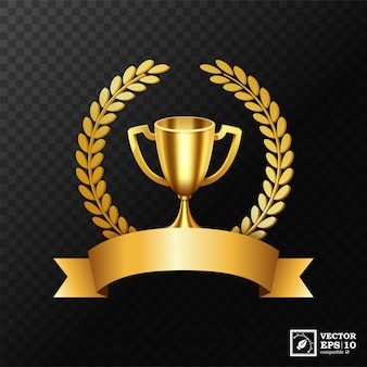 Realistic golden trophy with gold laurel wreath