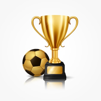 Realistic golden trophy with soccer ball