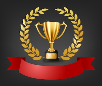 Realistic Golden Trophy with text space on red ribbon