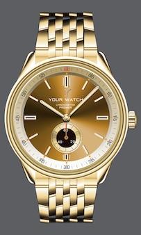 남성 패션을위한 현실적인 황금 시계 시계 크로노 그래프