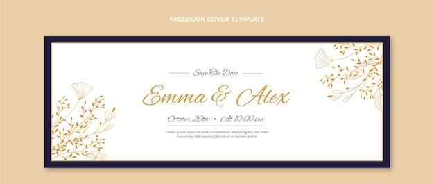 Реалистичная золотая свадебная обложка facebook