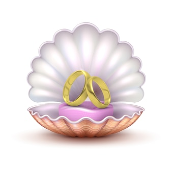 Realistic golden wedding rings in seashell isolated. to marry vector concept