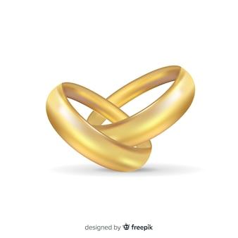 Anelli di nozze d'oro realistici