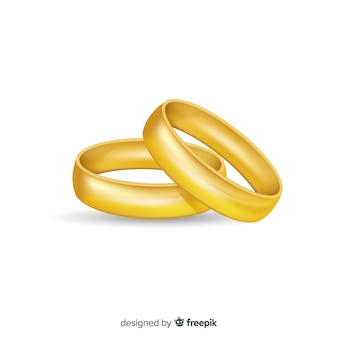 Realistic golden wedding rings