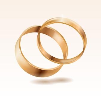 Реалистичные золотые обручальные кольца