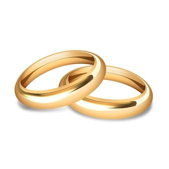 현실적인 황금 결혼 반지