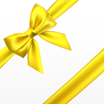 Realistic golden, yellow bow. element for decoration gifts, greetings, holidays.