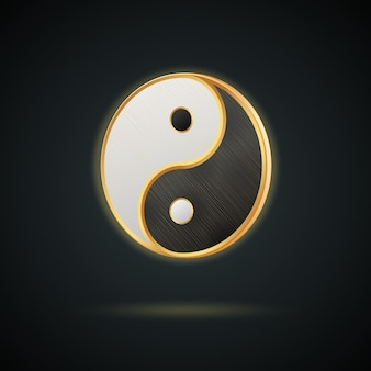 Realistic golden yin yang symbol isolated on dark background