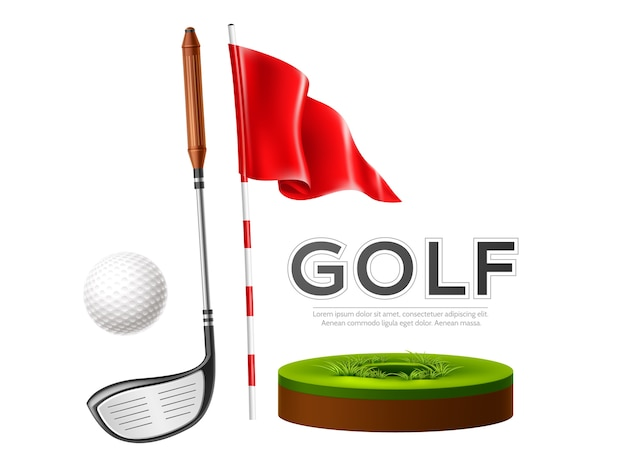 Realistic golf club, flag and golf ball on green grass.