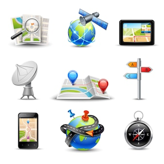 Realistic gps route search and navigation icons set