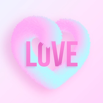 Realistic gradient love concept with 3d fluffy heart