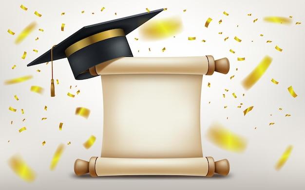 Реалистичная выпускная кепка и академическая кепка с бумажным свитком и падающим золотым конфетти.