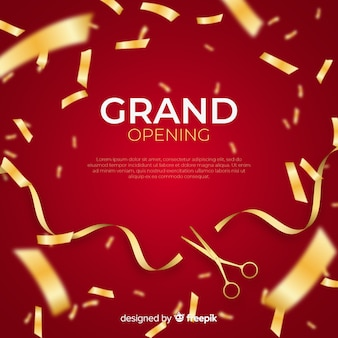 Realistic grand opening background with confetti