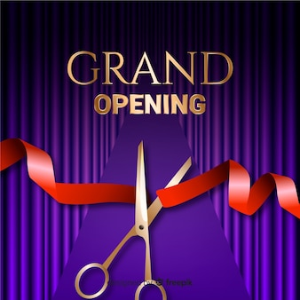 Realistic grand opening background with scissors