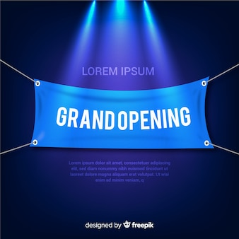 Realistic grand opening background with spotlight