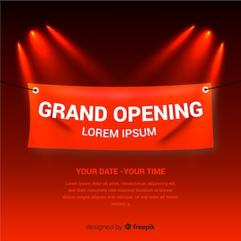 Realistic grand opening background with textile banner