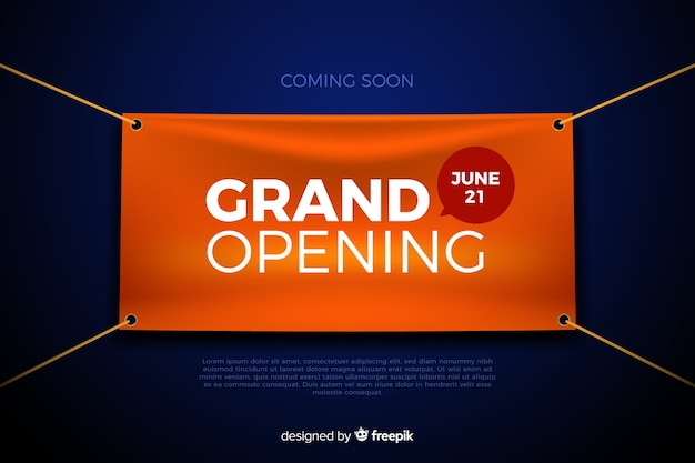 Realistic grand opening banner template