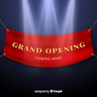 Realistic grand opening hanging banner