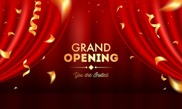 Realistic grand opening invitation with red curtains and golden confetti.