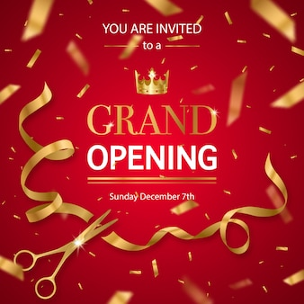 Realistic grand opening invitation