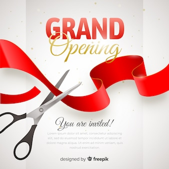 Realistic grand opening poster with scissors