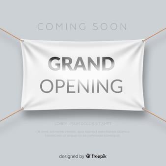 Realistic grand opening poster with textile banner