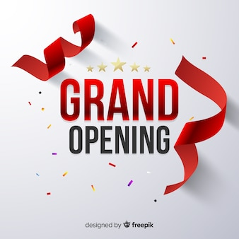 Realistic grand opening with confetti