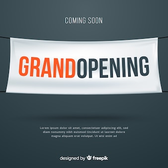 Realistic grand opening with textile banner