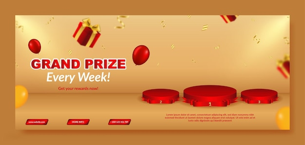 Realistic grand prize banner template with podium and gift box