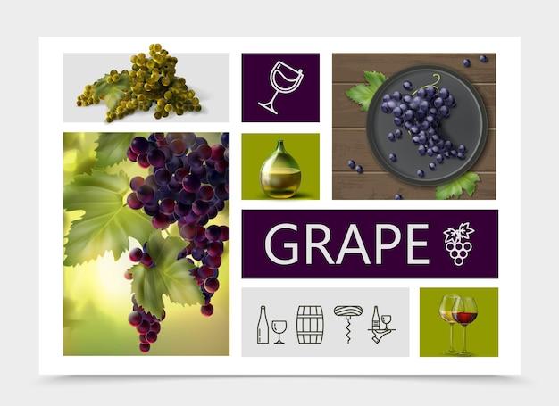 Composizione realistica dell'uva con bottiglia dell'uva viola rossa bianca e bicchieri di vino e icone lineari di vinificazione