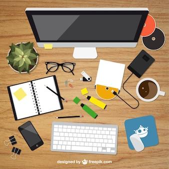 Realistic graphic designer desktop in top view