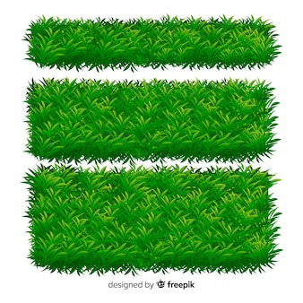 Realistic grass banner template collection