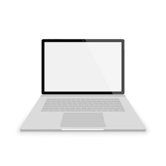현실적인 회색 노트북 전면보기입니다. 흰색 배경에 삽화입니다. 빈 scrin 노트북
