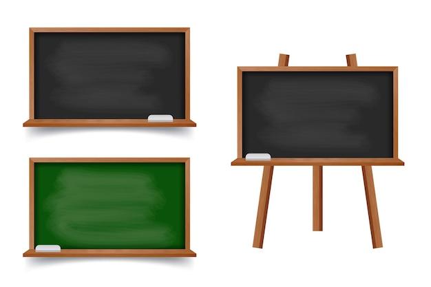 木製フレームと現実的な緑と黒の黒板