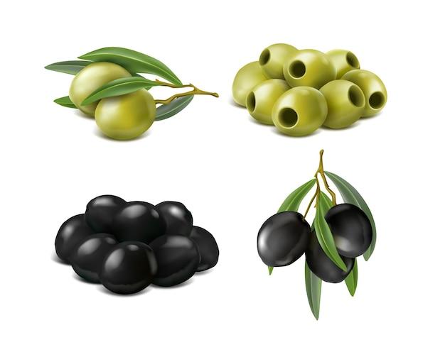 分離されたリアルな緑と黒のオリーブ